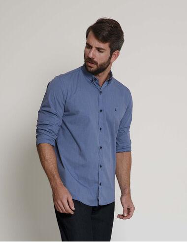 imagem de Camisa Micro Check Azul Médio