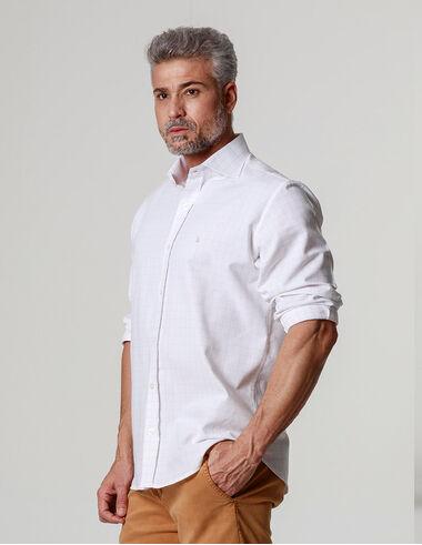 imagem de Camisa Oxford Pool Tiles II Branco_Cinza