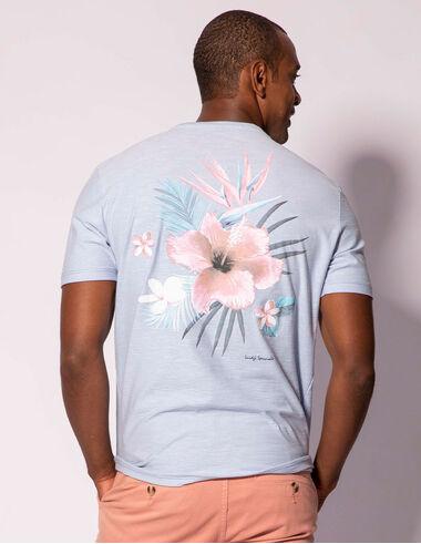 imagem de T-shirt Aquarela Hibisco Azul Céu