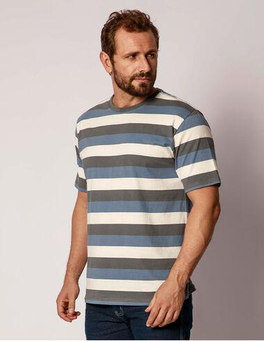 imagem de T-Shirt Fio Tinto Tritone CHUMBO/INDIGO/OFF WHITE