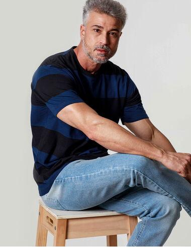 imagem de T-Shirt Fio Tinto Sports Preto/Marinho