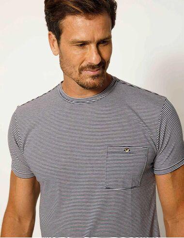 imagem de T-shirt Listrada Seersucker Navy/Branco